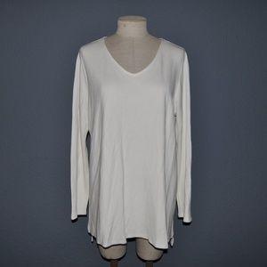 J.JILL Ivory Long Sleeve V-Neck WEAREVER Tunic E1